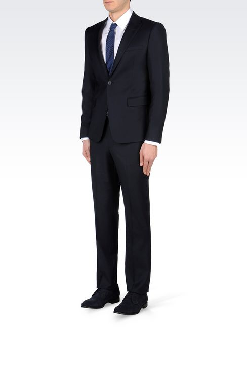 SLIM-FIT SUIT IN COMBED WOOL: One button suits Men by Armani - 3