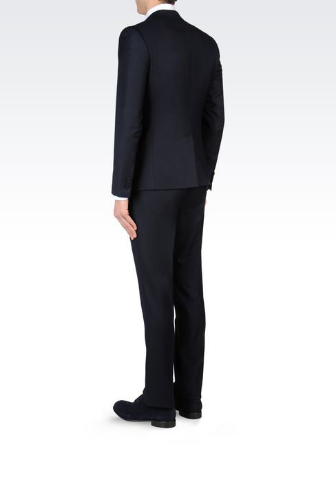 SLIM-FIT SUIT IN COMBED WOOL: One button suits Men by Armani - 4