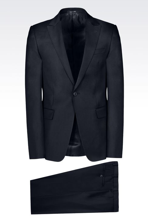 SLIM-FIT SUIT IN COMBED WOOL: One button suits Men by Armani - 1