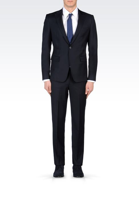 SLIM-FIT SUIT IN COMBED WOOL: One button suits Men by Armani - 2