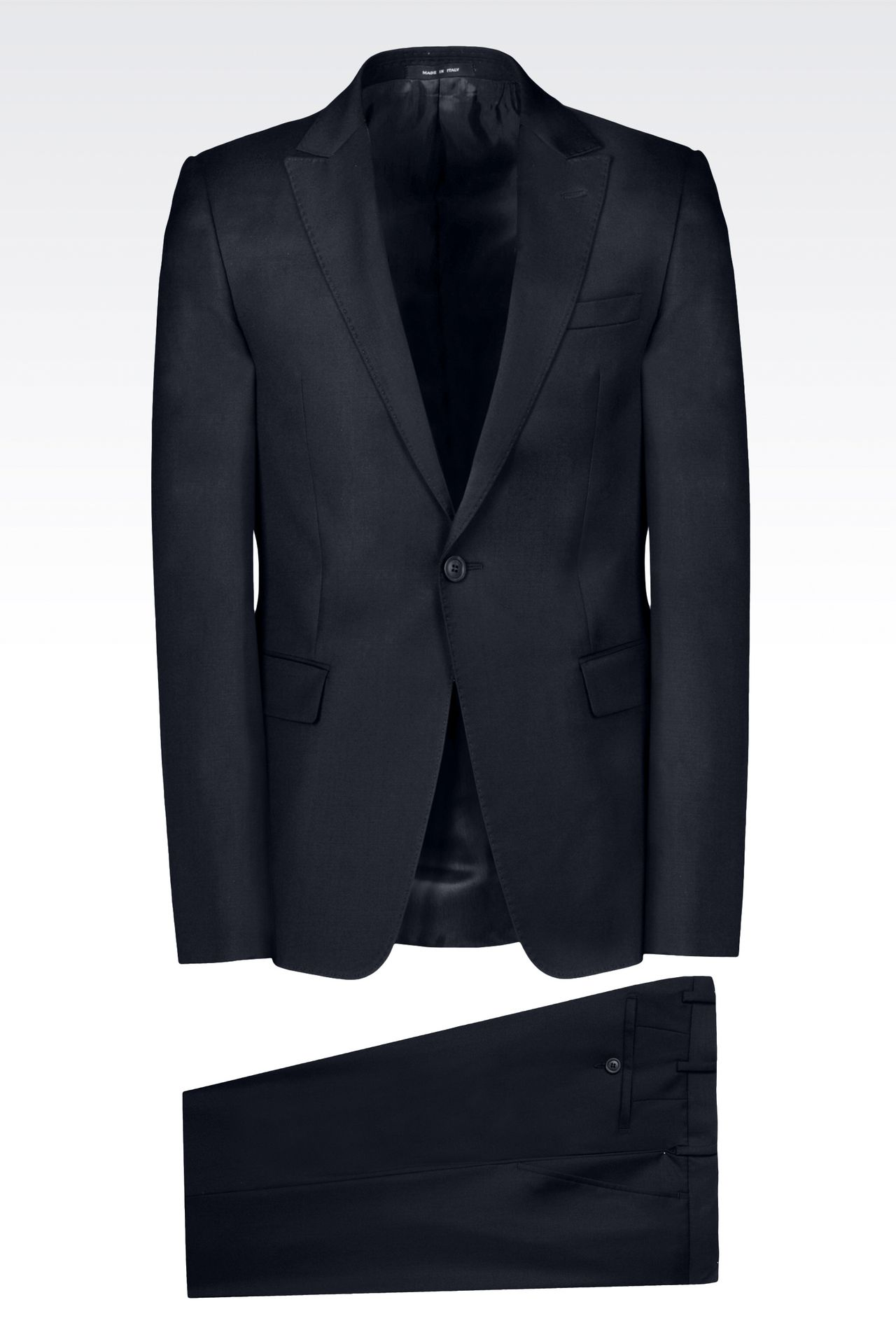 SLIM-FIT SUIT IN COMBED WOOL: One button suits Men by Armani - 0
