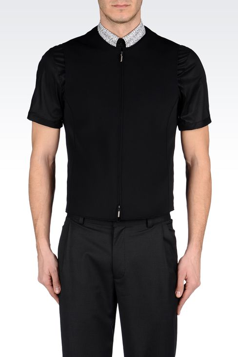 FULL-ZIP CREW-NECK GILET IN NEOPRENE: Gilets Men by Armani - 2