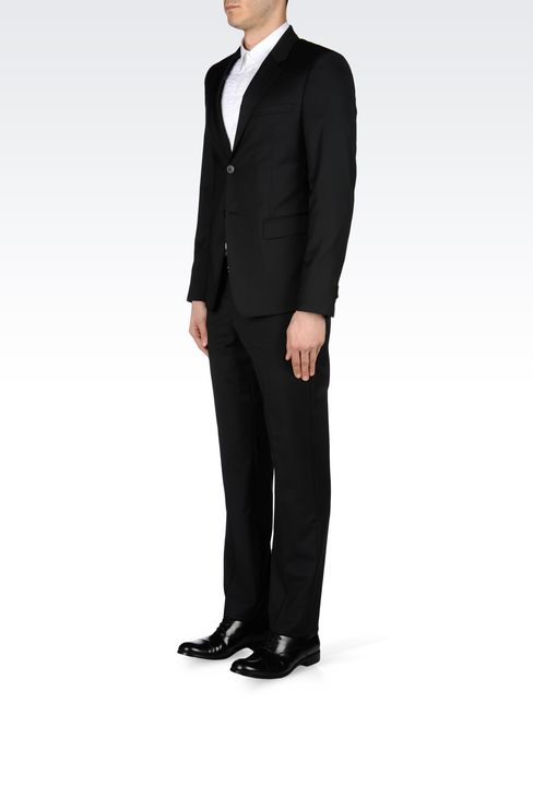 SLIM-FIT SUIT IN MICRO-PINSTRIPE WOOL: Two buttons suits Men by Armani - 2