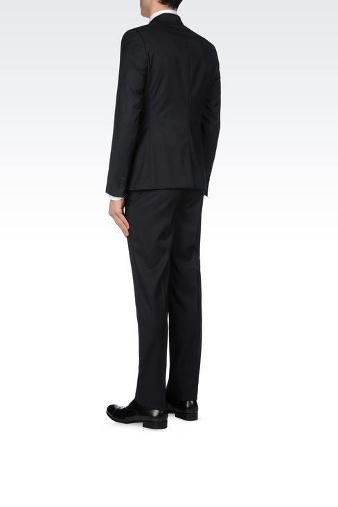 SLIM FIT SUIT IN TONAL MICRO STITCH WOOL: Two buttons suits Men by Armani - 3