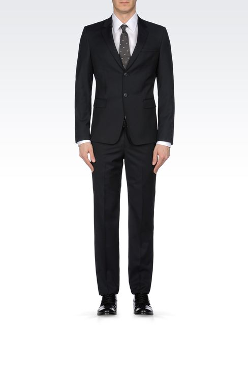 SLIM FIT SUIT IN TONAL MICRO STITCH WOOL: Two buttons suits Men by Armani - 1