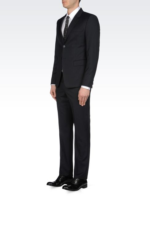 SLIM FIT SUIT IN TONAL MICRO STITCH WOOL: Two buttons suits Men by Armani - 2