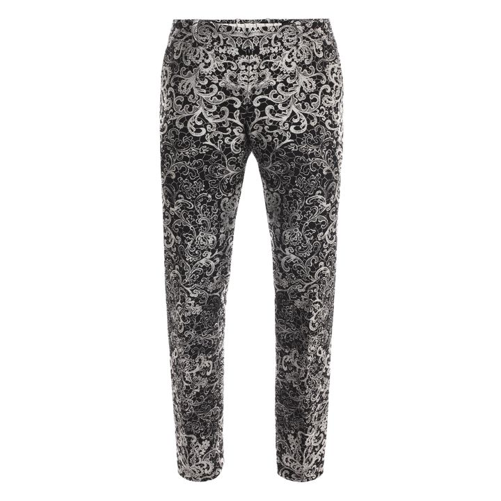Alexander McQueen, Skull Lace Jacquard Cropped Trousers