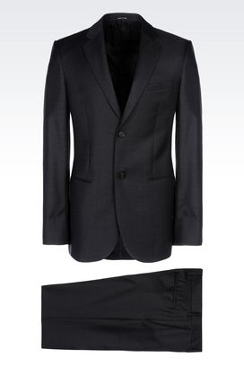 Armani Two buttons suits Men single-breasted suit in worsted wool