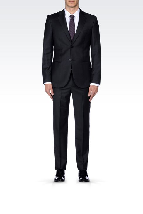 SINGLE-BREASTED SUIT IN WORSTED WOOL: Two buttons suits Men by Armani - 2