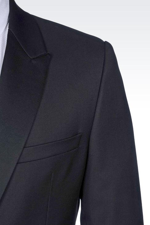 TUXEDO IN WORSTED WOOL WITH SATIN DETAILS: One button suits Men by Armani - 5
