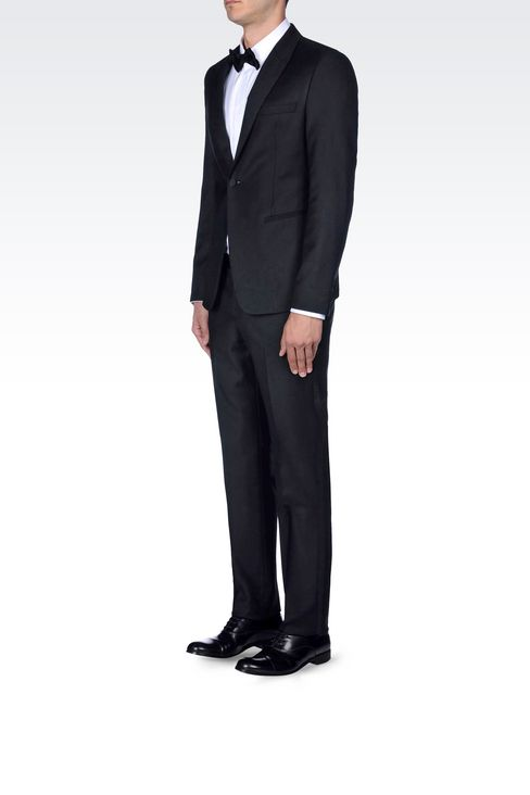 TUXEDO IN WORSTED WOOL WITH SATIN DETAILS: One button suits Men by Armani - 3