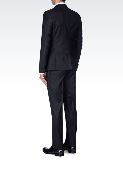 TUXEDO IN WORSTED WOOL WITH SATIN DETAILS: One button suits Men by Armani - 4