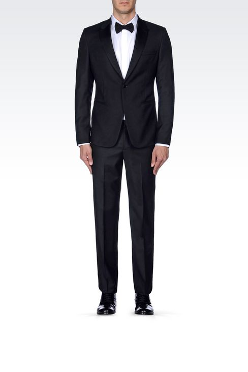 TUXEDO IN WORSTED WOOL WITH SATIN DETAILS: One button suits Men by Armani - 2