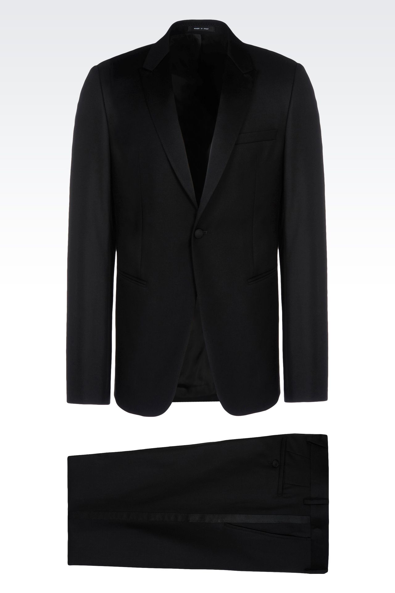 TUXEDO IN WORSTED WOOL WITH SATIN DETAILS: One button suits Men by Armani - 0