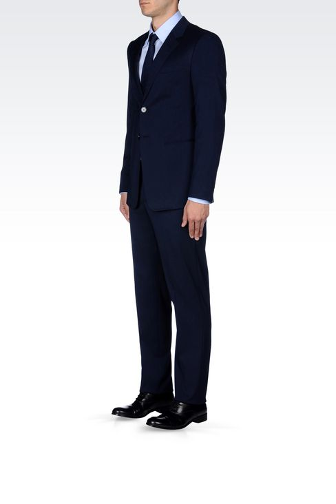 SINGLE-BREASTED SUIT IN IRIDESCENT WOOL: Two buttons suits Men by Armani - 3
