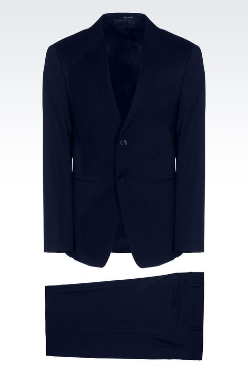 SINGLE-BREASTED SUIT IN IRIDESCENT WOOL: Two buttons suits Men by Armani - 1