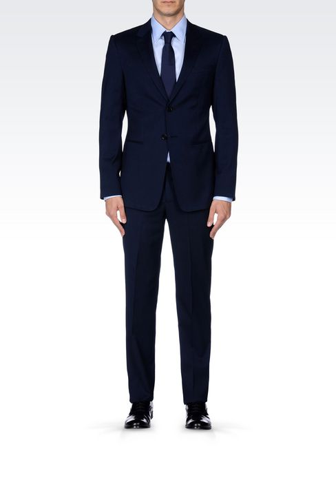 SINGLE-BREASTED SUIT IN IRIDESCENT WOOL: Two buttons suits Men by Armani - 2