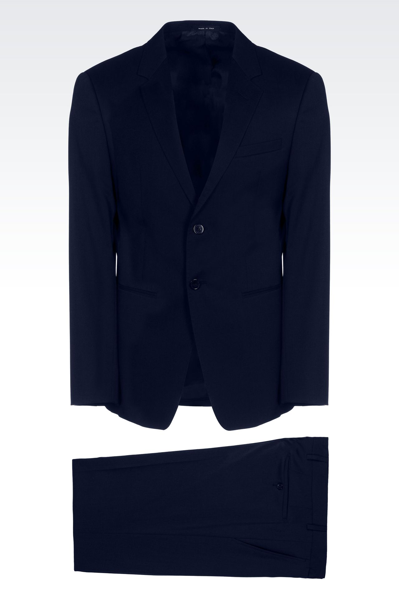SINGLE-BREASTED SUIT IN IRIDESCENT WOOL: Two buttons suits Men by Armani - 0