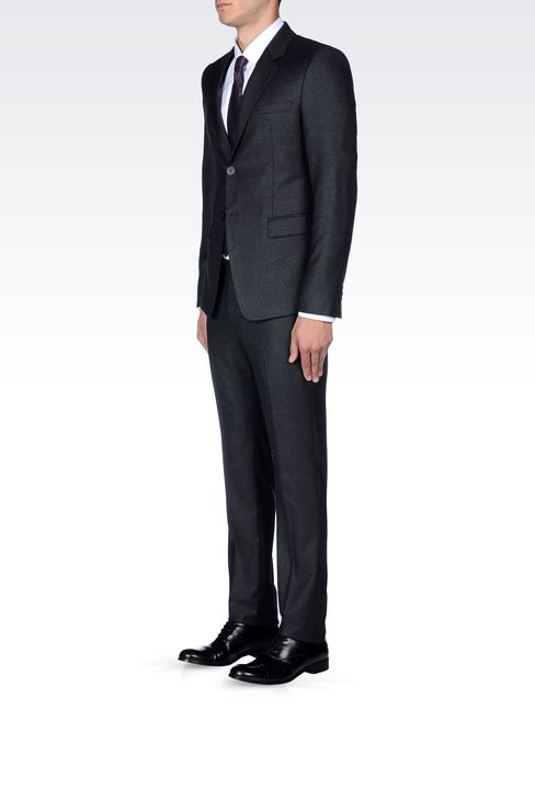 SINGLE-BREASTED SUIT IN VIRGIN WOOL: Two buttons suits Men by Armani - 3
