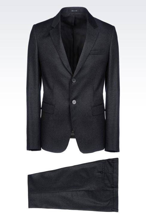 SINGLE-BREASTED SUIT IN VIRGIN WOOL: Two buttons suits Men by Armani - 1