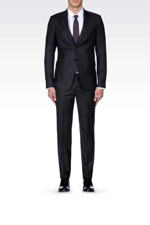 SINGLE-BREASTED SUIT IN VIRGIN WOOL: Two buttons suits Men by Armani - 2
