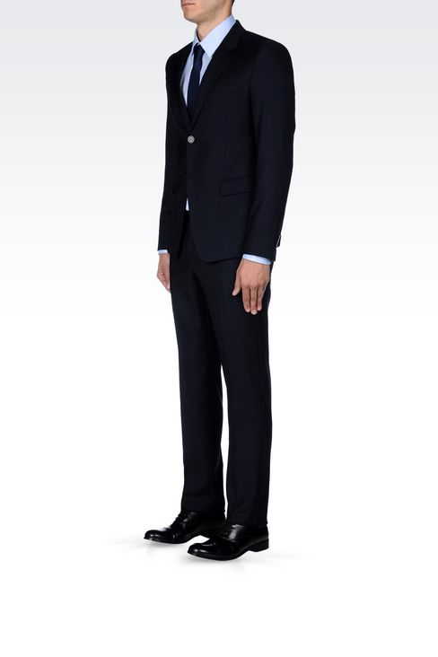SINGLE-BREASTED SUIT IN WORSTED WOOL: Two buttons suits Men by Armani - 3