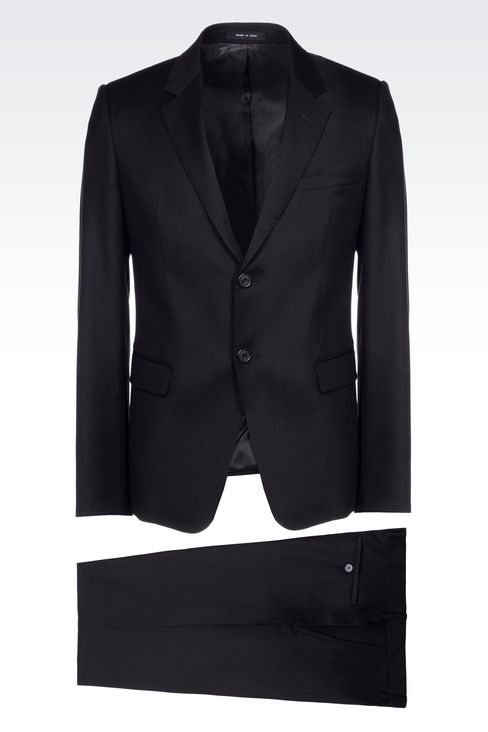 SINGLE-BREASTED SUIT IN WORSTED WOOL: Two buttons suits Men by Armani - 1