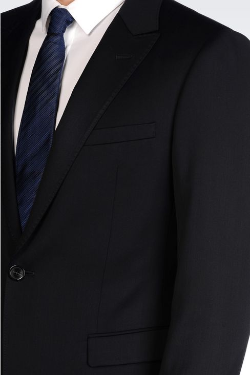 SINGLE-BREASTED SUIT IN STRETCH WOOL AND SATIN: One button suits Men by Armani - 5