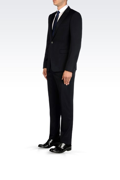 SINGLE-BREASTED SUIT IN STRETCH WOOL AND SATIN: One button suits Men by Armani - 3
