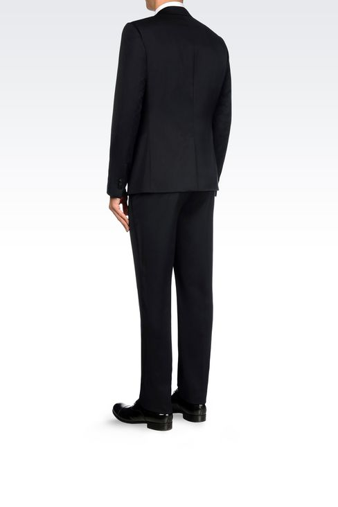 SINGLE-BREASTED SUIT IN STRETCH WOOL AND SATIN: One button suits Men by Armani - 4