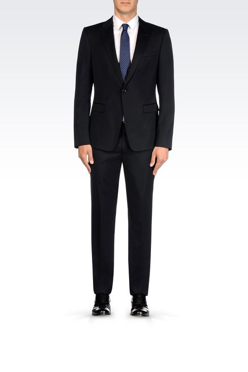 SINGLE-BREASTED SUIT IN STRETCH WOOL AND SATIN: One button suits Men by Armani - 2