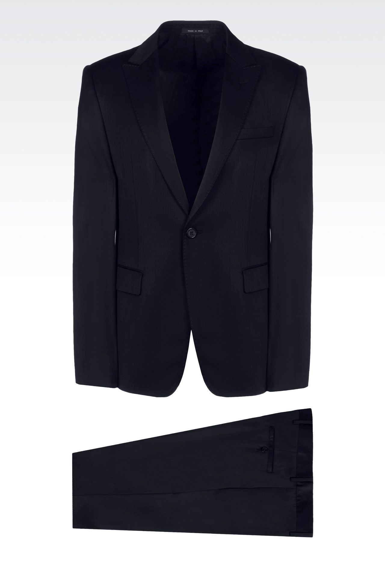 SINGLE-BREASTED SUIT IN STRETCH WOOL AND SATIN: One button suits Men by Armani - 0