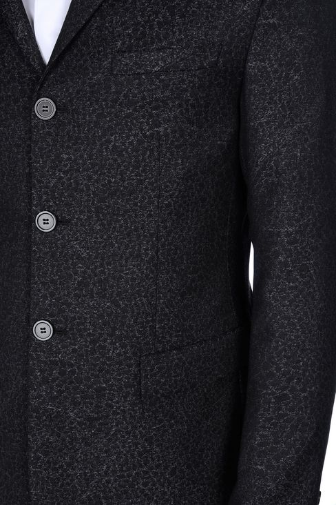 THREE-BUTTON RUNWAY SUIT IN JACQUARD WOOL: Three buttons suits Men by Armani - 5