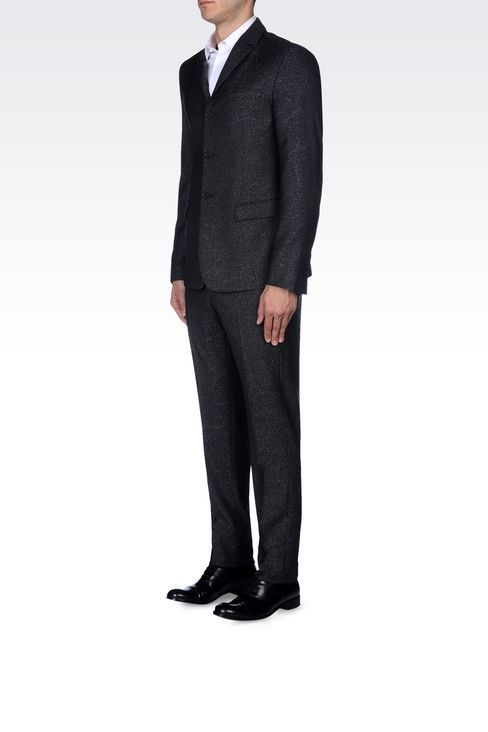 THREE-BUTTON RUNWAY SUIT IN JACQUARD WOOL: Three buttons suits Men by Armani - 3