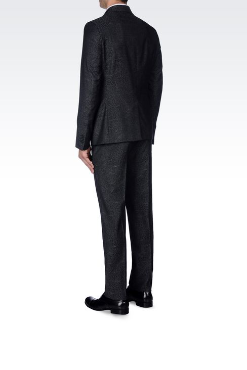 THREE-BUTTON RUNWAY SUIT IN JACQUARD WOOL: Three buttons suits Men by Armani - 4