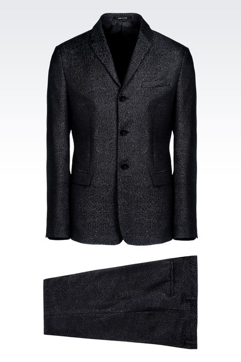 THREE-BUTTON RUNWAY SUIT IN JACQUARD WOOL: Three buttons suits Men by Armani - 1