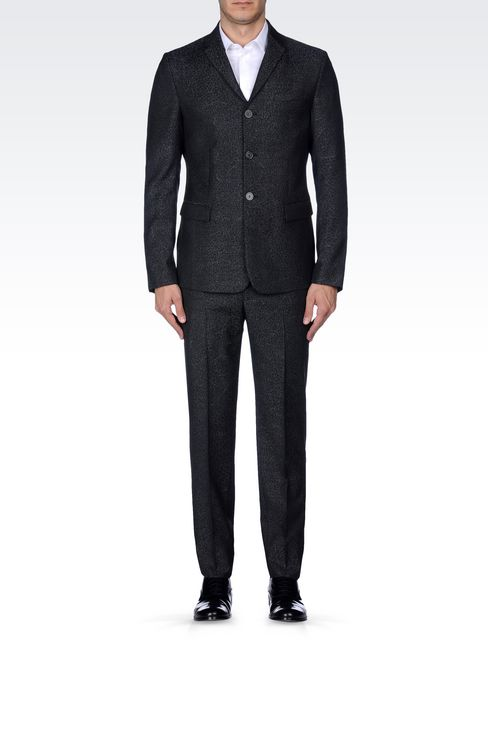 THREE-BUTTON RUNWAY SUIT IN JACQUARD WOOL: Three buttons suits Men by Armani - 2