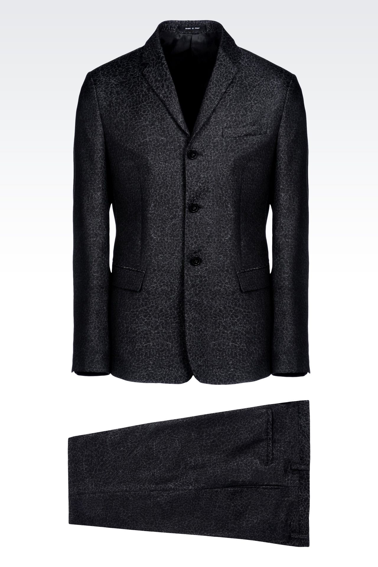 THREE-BUTTON RUNWAY SUIT IN JACQUARD WOOL: Three buttons suits Men by Armani - 0
