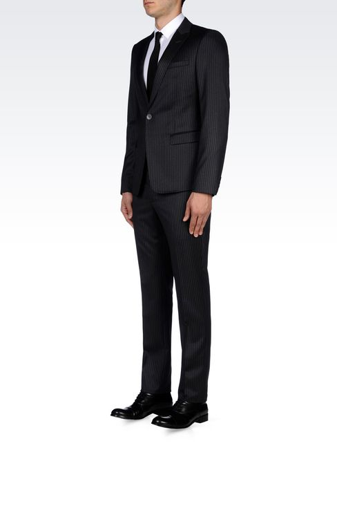 SINGLE-BREASTED SUIT IN CLASSIC PINSTRIPE WOOL: One button suits Men by Armani - 3