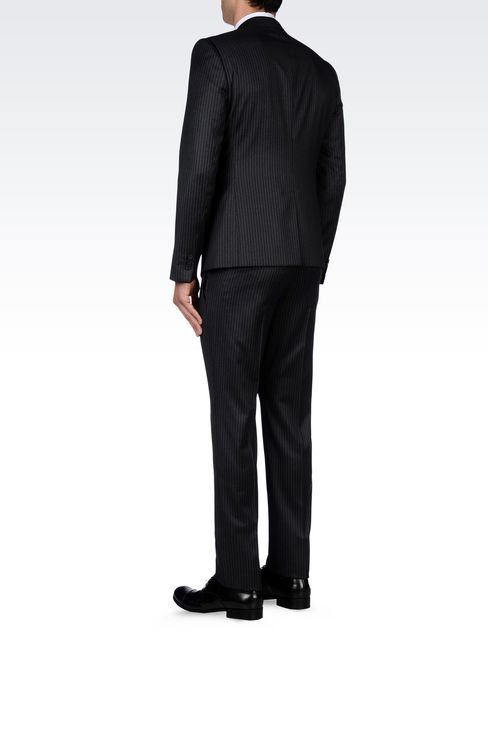 SINGLE-BREASTED SUIT IN CLASSIC PINSTRIPE WOOL: One button suits Men by Armani - 4