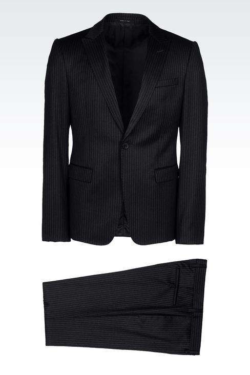 SINGLE-BREASTED SUIT IN CLASSIC PINSTRIPE WOOL: One button suits Men by Armani - 1