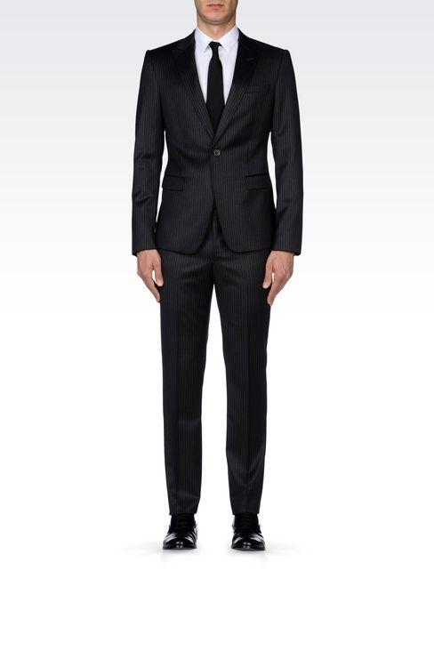 SINGLE-BREASTED SUIT IN CLASSIC PINSTRIPE WOOL: One button suits Men by Armani - 2