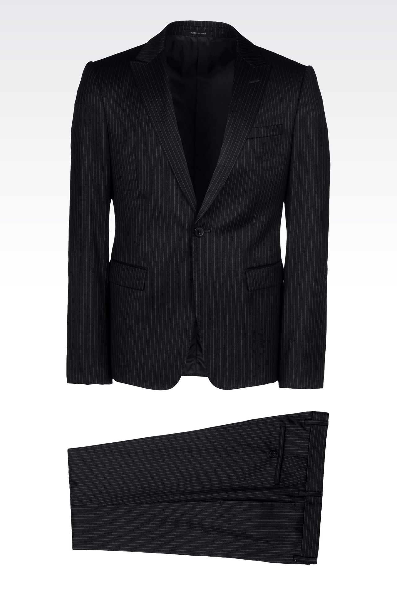 SINGLE-BREASTED SUIT IN CLASSIC PINSTRIPE WOOL: One button suits Men by Armani - 0