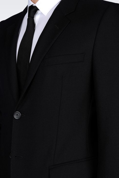 SINGLE-BREASTED SUIT IN MICRO TEXTURED WOOL: Two buttons suits Men by Armani - 5