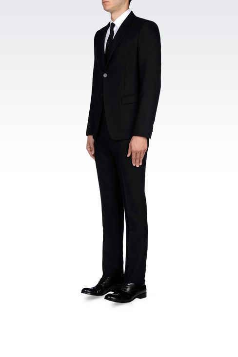 SINGLE-BREASTED SUIT IN MICRO TEXTURED WOOL: Two buttons suits Men by Armani - 3