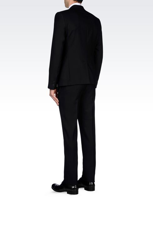 SINGLE-BREASTED SUIT IN MICRO TEXTURED WOOL: Two buttons suits Men by Armani - 4