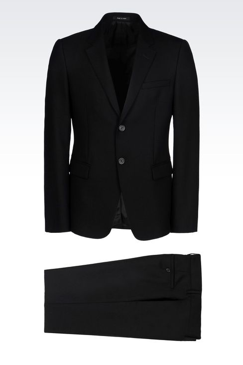 SINGLE-BREASTED SUIT IN MICRO TEXTURED WOOL: Two buttons suits Men by Armani - 1