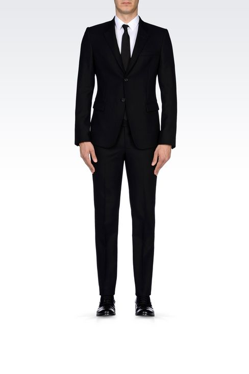 SINGLE-BREASTED SUIT IN MICRO TEXTURED WOOL: Two buttons suits Men by Armani - 2