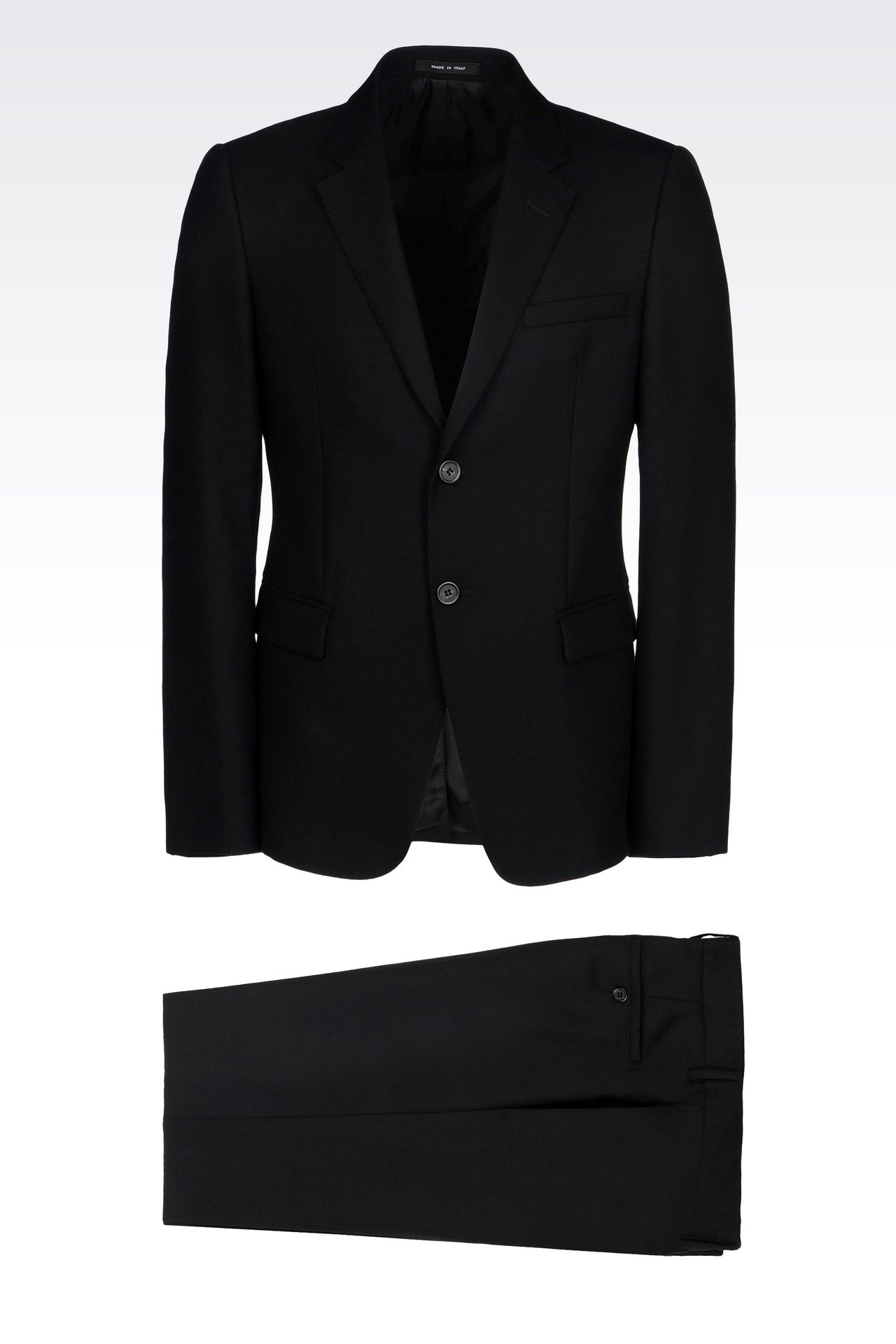 SINGLE-BREASTED SUIT IN MICRO TEXTURED WOOL: Two buttons suits Men by Armani - 0