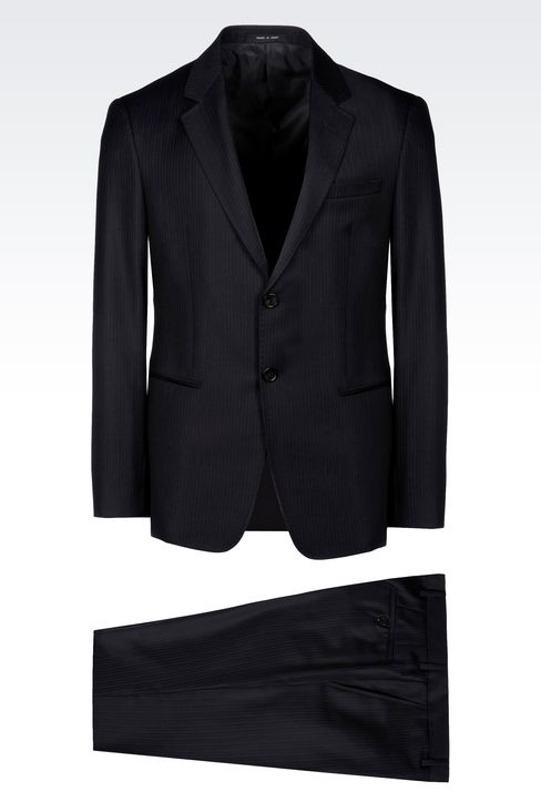 SINGLE-BREASTED SUIT IN PINSTRIPE WOOL: Two buttons suits Men by Armani - 1
